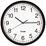 Elvoki 11.5-Inch Wall Clock with Arabic Numerals, Black and White