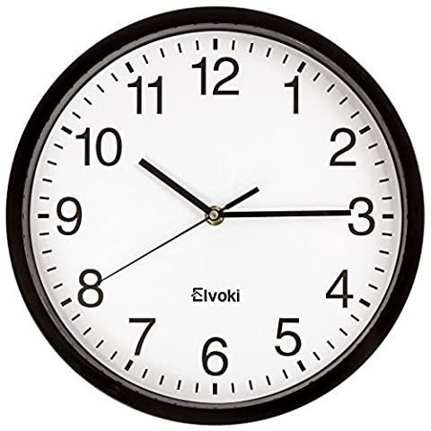 Elvoki 11.5-Inch Wall Clock with Arabic Numerals, Black and White - Black And White Sweep
