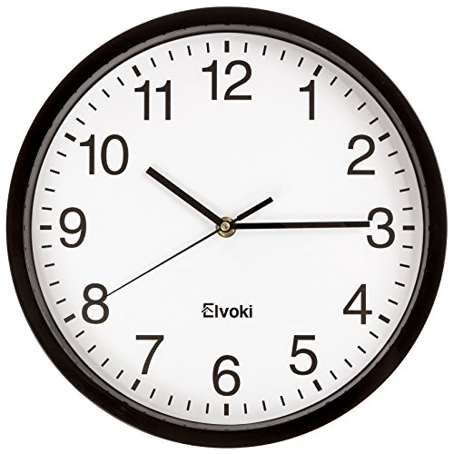 Elvoki 11.5-Inch Wall Clock with Arabic Numerals, Black and