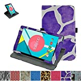 """Mama Mouth 360 Degree Rotating Stand With Cute Pattern Case for 8"""" Nextbook Ares 8 (NXA8QC116) / Flexx 8 (NXW8QC132) / Nextbook 8 (Old Version NXW8QC16G) Windows 8.1 Tablet,Giraffe Purple"""