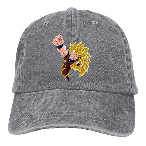 BYSKA Personalized Printed Casual Dad Hat Goku Super Saiyan 3 Dragon Ball Logo Funny Baseball-Cap Gray