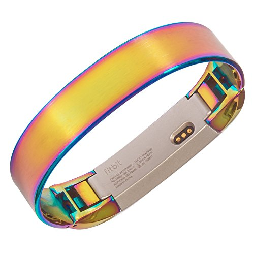 NEW WAVE Metal Bangle Bracelet For Fitbit Alta HR and Alta, Accessory Band ,7inches,Rainbow color (Style Bracelet Wave)