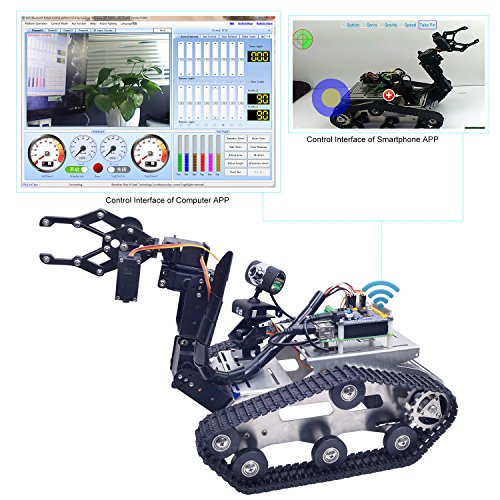 XiaoR Geek Wifi manipulator smart Robot car kit for Raspberry Pi,Tank chassis FPV Camera Programable Robotics Vehicle Kit with 8Gb TF Card by iOS Android PC Controlled by XiaoR Geek (Image #4)