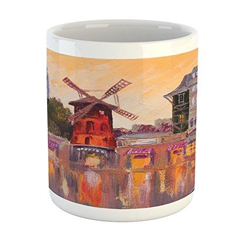 Lunarable European Mug, Painting Moulin Rouge in Paris City Centre Love Vintage France Art Print, Printed Ceramic Coffee Mug Water Tea Drinks Cup, Multicolor