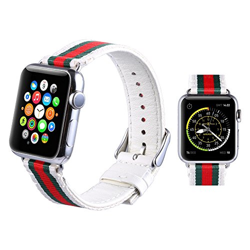 Hontao for Apple Watch Band Woven Nylon with Genuine Leather Sport Stylish iWatch Replacement Strap with Metal Adapter Clasp for Apple Watch Series 1 Series 2 Series 3 (white/green 38mm)