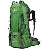 60L Outdoor Mountaineering Bag Large Capacity Waterproof Fashion Foldable Backpack for Hiking Camping Fishing Traveling (Green)