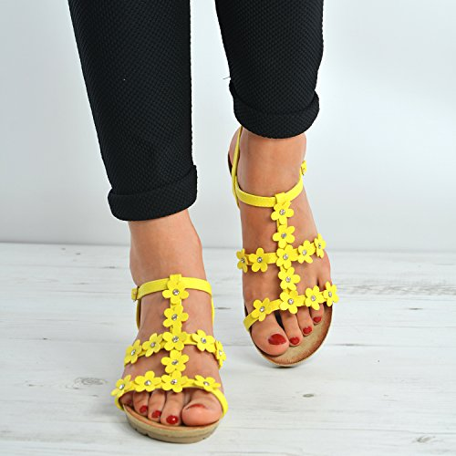Comfy Ankle Ladies Heels Flat Strap Fashion Flower Yellow Holiday Diamante Womens Beach Studded Flat 8 Peep Size Girls 3 UK Toe Flats Sandals Summer New Floral Shoes Cucu T6Xqwna1X
