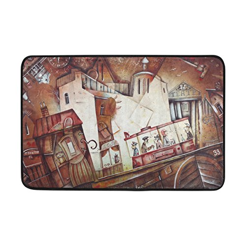 Blue Viper Vintage Abstract Street And Tram Pattern Non-Slip Doormat for Home Living Room Bathroom Kitchen Outdoor Outside Indoor Entrance Way Front Door 23.6 x 15.7 (Main Street Collection Monogram)