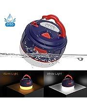 FOGEEK Linterna portátil para acampar, luz de mini carpa recargable, luz cálida, luz de noche, luz de emergencia, banco de energía 5200mAh, resistente al agua, base magnética, 8 modos de luz
