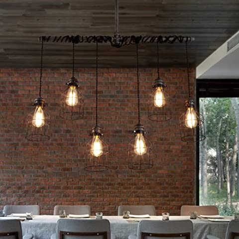 LightInTheBox Nordic Industrial Personality Art Cafe American Chandelier Restaurant Pendent Lights Creative Iron Pipes Lighting Fixtures