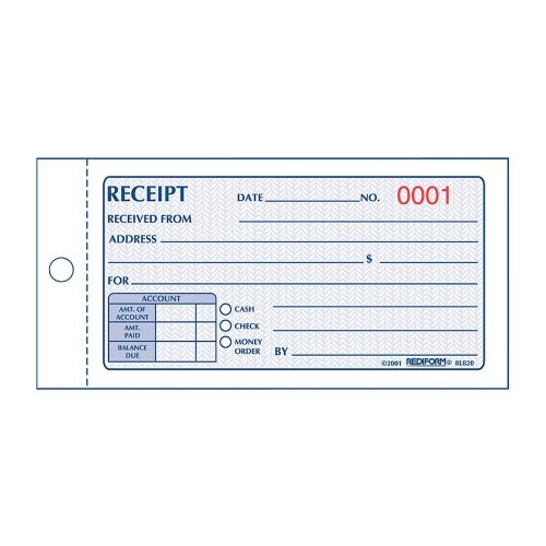 Rediform Money Receipt Book, Carbonless, 2.75 x 5.625 Inches, 50 Duplicate (8L820)