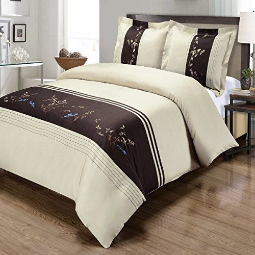 Celeste, Deluxe and Elegant warm stylish tones Duvet Cover Set, Featuring colored leaves of blue, taupe and sand on Chocolate and Beige Background. Full/Queen 3 Piece Duvet Cover Set