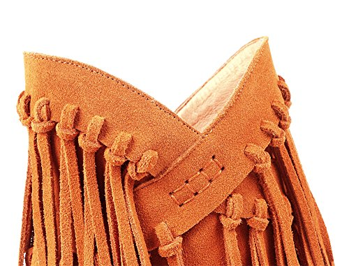 Brown Mid Leather Boots Tassels Seven Classy Toe Cute With Heel Nine Women's Round Ankle Party Handmade Suede pacwg