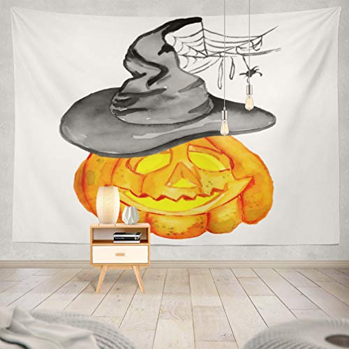 KJONG Halloween-Pumpkin Decorative Tapestry,Watercolor Halloween Holiday White Pumpkin Witch Hat with 60X80 Inches Wall Hanging Tapestry for Bedroom Living -