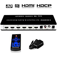 HDMI Switch Splitter Audio Extractor 4K x 2K HDMI/MHL 5x1 with Wireless Remote Control Full HD 1080P