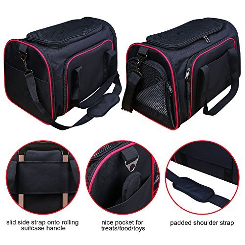 Airline Approved Pet Carrier, TAOTENK Foldable Dog Travel Carrier with Pocket and Removable Mat – Two Side Expandable Extra Spacious Soft Sided Animal Cat Carrier by TAOTENK (Image #2)