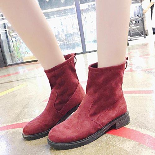 Kaicran Femmes Bottes Dhiver Mode Cheville Bottes De Neige Chaud Chaussures En Peluche Bottes Courtes Vin