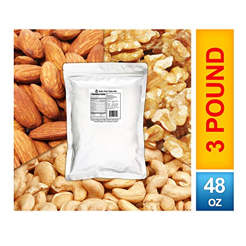 (Daily Nuts Triple Mix 3 LB (Almonds (Dry-Roasted), Cashews (Dry-Roasted), Walnuts) No Artificials, Unsalted, Natural, Premium Nuts, Kosher Certified)