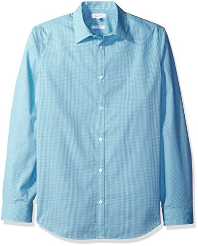 Mini Herringbone Non Iron (Calvin Klein Men's Check Long Sleeve Non-Iron Button Down Shirt Button Down Shirt, Teal Lagoon, Large)