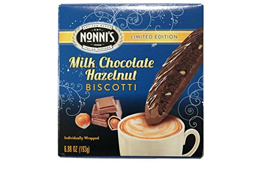 Nonni's Limited Edition Milk Chocolate Hazelnut Biscotti (Pack of 2) 8 Cookies in Each Box 16 Total
