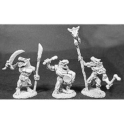 Reaper Miniatures Lizardman Command 4 Pcs #06047 Dark Heaven Legends Army Packs: Toys & Games