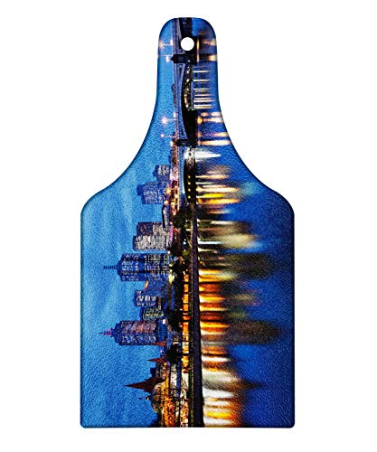 Lunarable Australia Cutting Board, Skyline of Melbourne City with Reflections on Water at Night with Dramatic Sky, Decorative Tempered Glass Cutting and Serving Board, Wine Bottle Shape, Multicolor