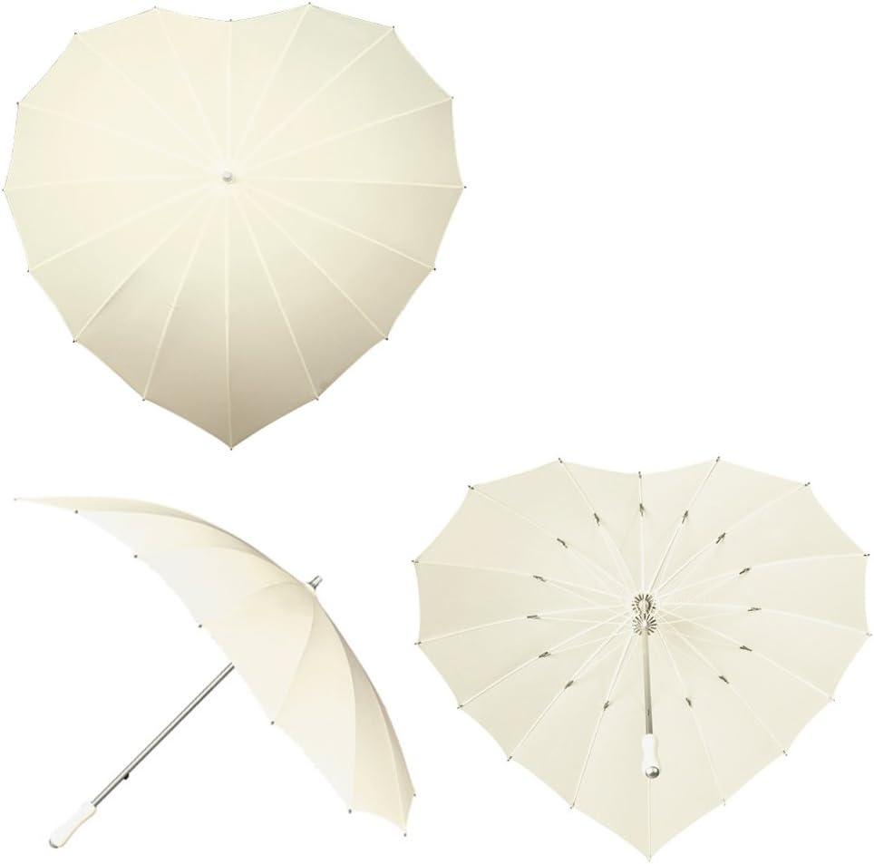 Herz Regenschirm Schirm in Herzform Hochzeitsschirm beige Hochzeit Stockschirm