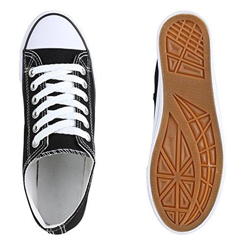Unisex Damen Herren Schuhe Sneakers Turnschuhe Freizeitschuhe Low Sneaker Übergrößen Prints Glitzer Denim Flandell Schwarz Cabanas