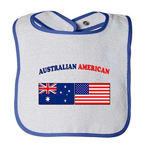 (Cute Rascals Australian American Tot Contrast Trim Terry Bib White/Royal Blue)