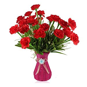 peals Artificial Flowers Carnations Silk Decorative Fake Flowers for Home Decoration Mother's Day,Red