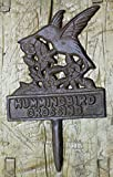 Cast Iron HUMMINGBIRD CROSSING Sign Garden Stake Home Decor Pond Plaque by OutletBestSelling