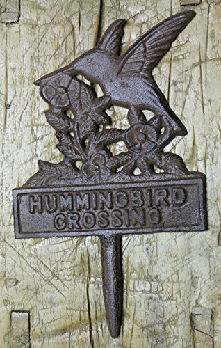 Sign Garden Stake Home Decor Pond Plaque Cast Iron Hummingbird Crossing