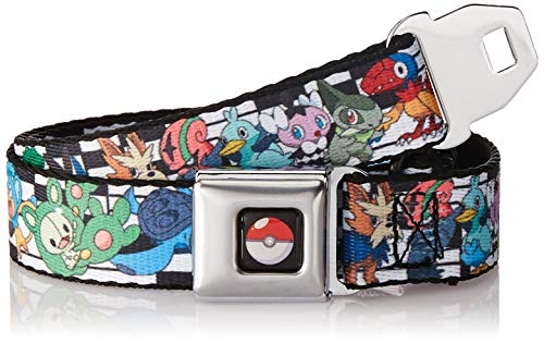 Buckle-Down Men's Seatbelt Belt Pokemon Kids, Character Lineup Black/White, 1.0