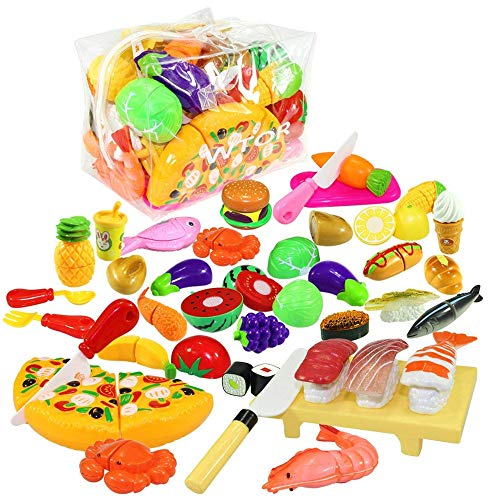 WTOR 39Pcs Pretend Play Food Toy Cutting Food Kit Early Educational Kitchen Play Toys with Pretend Fruits Veggies Pizza Knife for Toddlers Boys Girls Kids