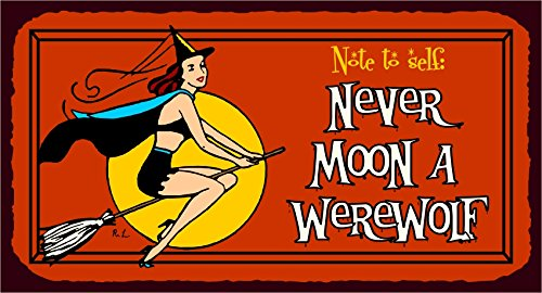 Never Moon A Werewolf Halloween Vintage Metal Art Retro Tin Sign -