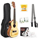 Concert Ukulele Solid Spruce Electric Acoustic 23 inch Ukelele Guitar Uke Kit With Strap Tuner String Gig Bag Instruction Booklet for Beginner
