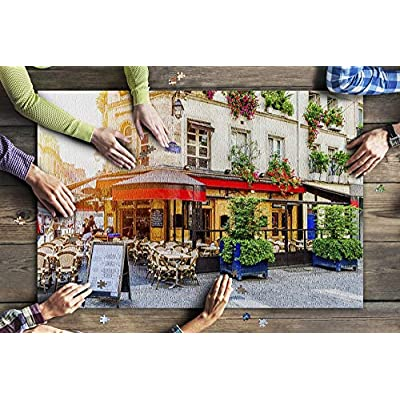 Paris, France - Cafe Tables Outside Inviting Restaurant 9032014 (Premium 1000 Piece Jigsaw Puzzle for Adults, 20x30, Made in USA!): Toys & Games