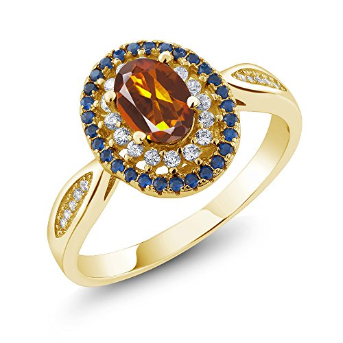 - 1.30 Ct Orange Red Madeira Citrine 18K Yellow Gold Plated Silver Ring (Size 9)