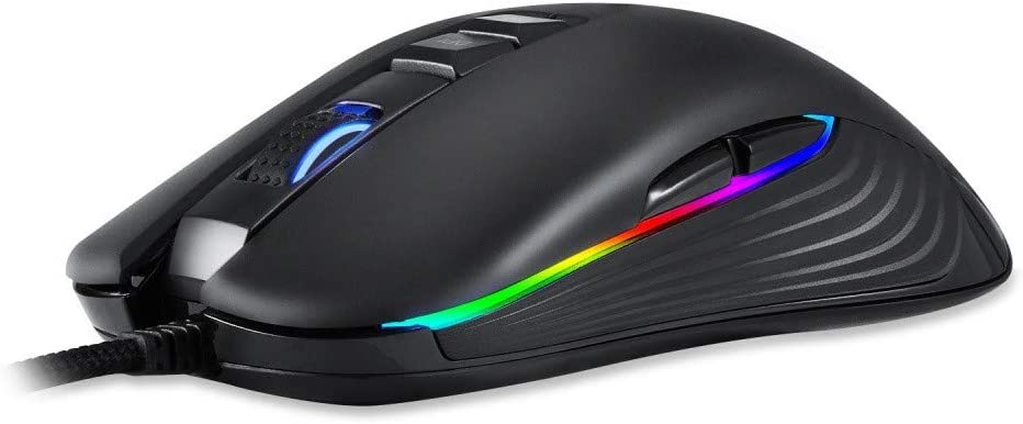 Black sakd Wired Mouse 5000DPI Adjust 7 Colors RGB LED Backlit Breath USB 9 Buttons Optical Game Gaming Mouse Gamer For PC Laptop Computer