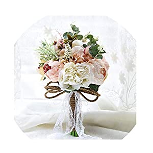 WodCht Beautiful Artificial Wedding Bouquets for Brides Lace Wedding Flowers Brooch Bouquets Vestidos 28