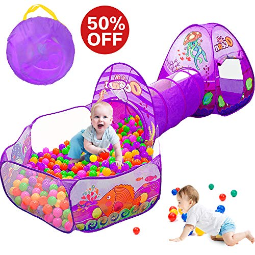 SUNBA YOUTH Kids Tent with Tunnel, Ball Pit Play House for Boys Girls, Babies and Toddlers Indoor& Outdoor(Balls Not Included) (Purple)