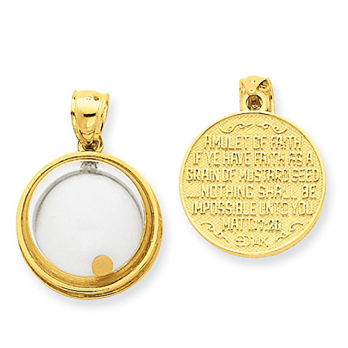 - Lex & Lu 14k Yellow Gold Mustard Seed Domed If Ye Have Faith Pendant-Prime