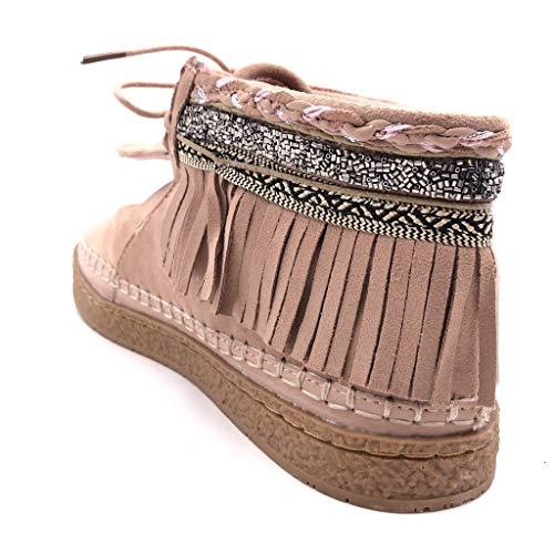 Fleco Botas Mocasines Cm Rosa Angkorly Fantasía Moda Plano 2 Tacón Zapatillas Bordado Botines Folk Mujer wqwt0I