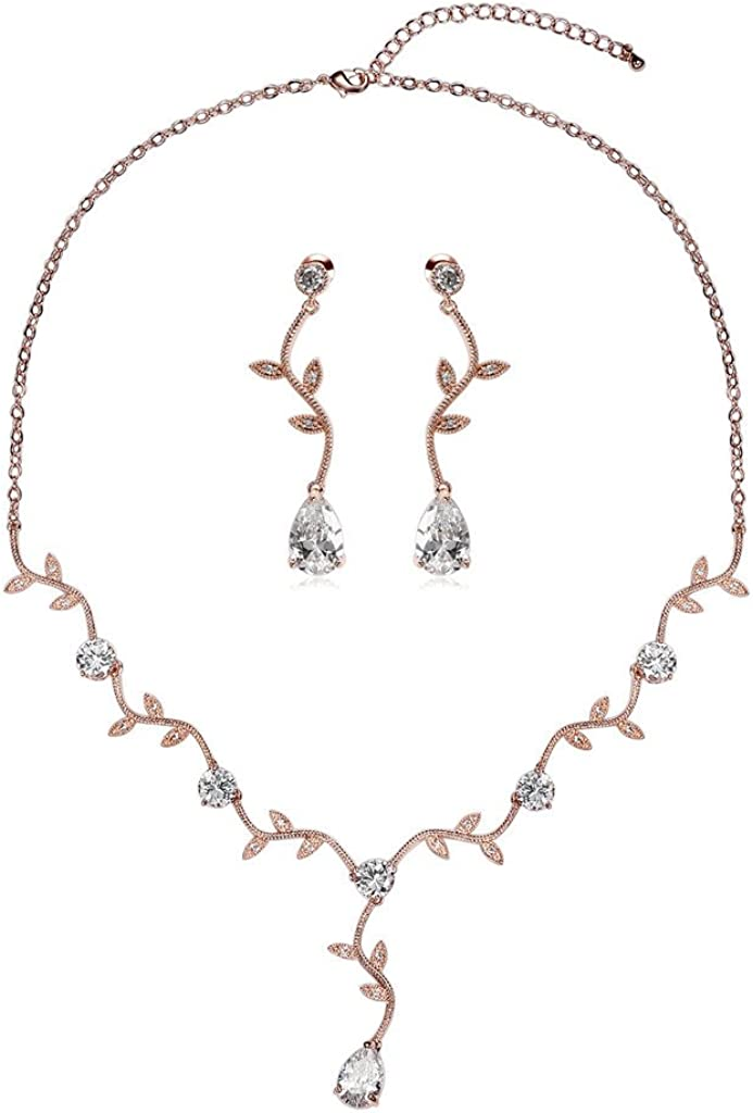 Epinki Silver Plated Vine Leaf Drop Crystal Rose Gold Earring Necklace Wedding Jewelry for Women