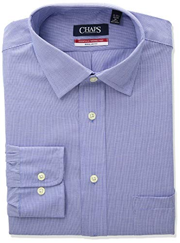 Chaps Men's Dress Shirts Regular Fit Check Spread Collar, Ultra Blue, 16