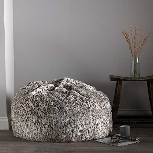 Poufs De Salon Icon Pouf Classique En Fausse Fourrure Leopard Chaise Pour Chambre 85cm X 50cm Pouf Poire Grand