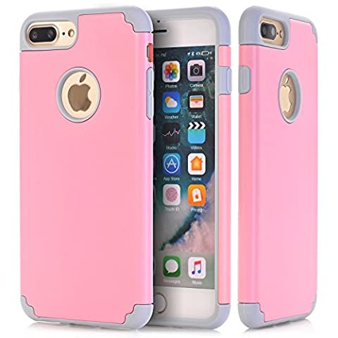 iPhone 7 Plus Cases, NOKEA 2in1 Hybrid Case for iPhone 7 Plus. Hard Cover for Iphone 7 Plus Printed Design Pc+ Silicone Hybrid High Impact Defender Case Combo Hard Soft (Pink (Pink Camo Otterbox Iphone 4s Case)