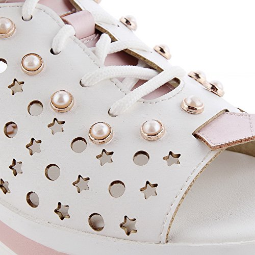 Sandals Blend Buckle Color Materials Heels Kitten AgooLar Assorted Women's Pink Toe Open tqx567vwS
