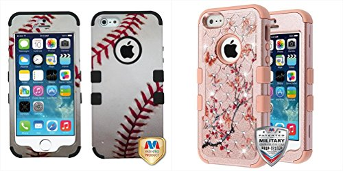 Gold Combo Footwear - Combo pack Baseball-Sports Collection/Black TUFF Hybrid Phone Protector Cover [Military-Grade Certified] for APPLE iPhone 5s/5 APPLE iPhone SE And Butterflies in Spring Flowers (Rose Gold)/Rose Gold F