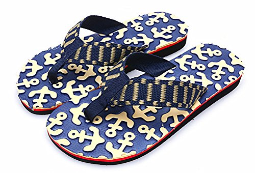 Anbover Heren Comfortabel Patroon Voetbed Strand Flip-flop String Sandaal Blauw